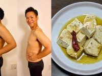 (左)激ヤセした川島と豆腐のオイル漬け