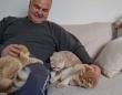 ねこざんまい。子猫たちに囲まれてうれしさがダダ洩れ中のお父さん