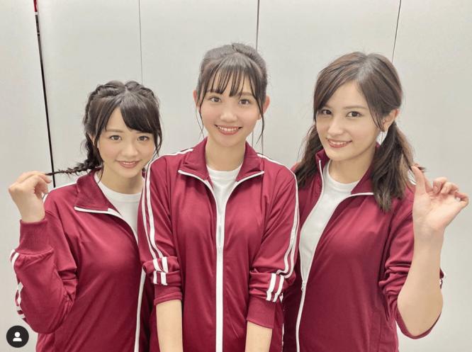 (左から)森香澄アナウンサー、田中瞳アナウンサー、池谷実悠アナウンサー/※画像は鷲見玲奈アナウンサーのインスタグラムアカウント『@sumi__reina』より