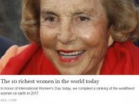 今、世界で最もリッチな女性トップ10