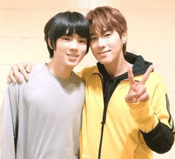 ※東方神起のユンホとジュンファン選手。画像はユンホのインスタグラムアカウント「@yunho2154」より