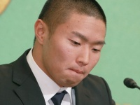 5月22日、記者会見をする日本大学・宮川泰介選手(写真:日刊現代/アフロ)