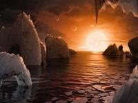 トラピスト1fの地表から見た光景の想像図 画像は「NASA」より引用