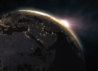Sunrise over the Earth - Europe. Elements of this image furnished by NASA. 3d illustration
