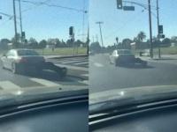 走行中の車のリアバンパーが壊滅状態。目撃したドライバーが教えてあげるも、そのまま走り去っていった件