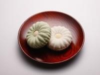 「風月堂清白 かぼちゃ菊 大住喜右衛門」「無垢(写真右)」と「抹茶(写真左)」の2種類