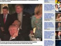 別荘での夕食会で、満面の笑みを浮かべるトランプ大統領。右端の、後ろ姿の女性のおっぱいに「心奪われた」ようだ(「メール・オンライン」より)