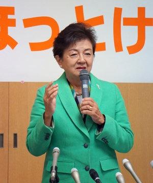 立候補会見での嘉田由紀子前滋賀県知事(撮影・横田一)