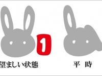 「pixiv」ページ上部にあるウサギマーク。読者から反応があると左のように両耳が立つ。