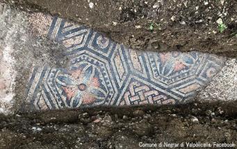 ブドウ畑の下から古代ローマ時代の見事なモザイク床が出現!(イタリア)