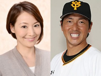 左:下平さやか(テレビ朝日「アナウンサーズ」より)、 右:長野久義(読売巨人軍公式サイトより)