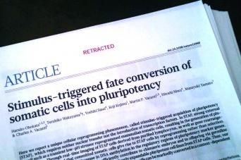 「撤回(Retract)」の文字が掲げられたSTAP細胞の論文