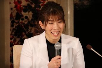 引退会見での吉田沙保里さん(2019年1月10日、J-CASTニュース撮影)