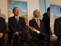 5日の初面談後、囲み取材をうける東電数土文夫会長(写真左)と、米山隆一知事(写真右)