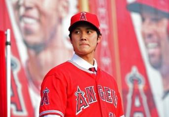 入団会見を行うロサンゼルス・エンゼルスの大谷翔平選手(写真:USA TODAY Sports/ロイター/アフロ)