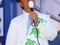 6月2日、街頭演説をする花角氏(撮影・横田一)