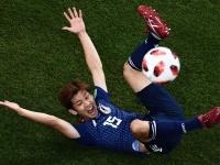 大迫 勇也:2018 FIFA W杯 決勝トーナメント1回戦(写真:AFP/アフロ)