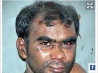 犯行直後のクチャクルニ。顔には、血痕のようなものが付着している