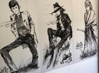 会場に展示されていた水墨画タッチで描かれたルパンらのイラスト