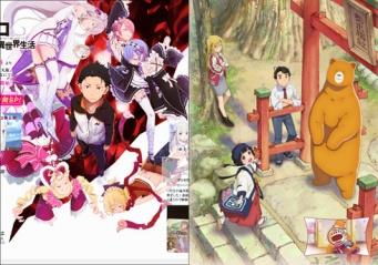 左:『Re:ゼロから始める異世界生活』、右:『くまみこ』、各アニメ公式サイトより。