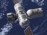 地球を背景に浮かぶ宇宙ホテル「オーロラ・ステーション」(オライオン・スパン社の公式サイトより)