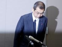 記者会見で辞任を表明したタカタの高田重久代表取締役会長兼社長(写真:ロイター/アフロ)
