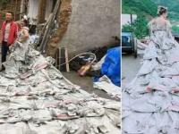 ひらめいた!セメント袋をつなぎ合わせてウエディングドレスを完成させた農家の女性(中国)