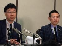 司法記者クラブで会見をする佐々木弁護士と北弁護士