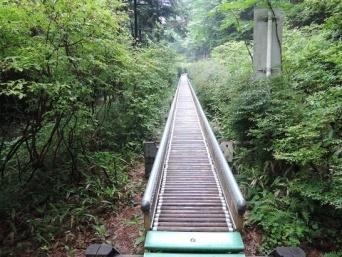 閉鎖中の木製ローラー滑り台(群馬県環境森林部緑化推進課県営林係提供)