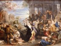 17世紀の画家、ルーベンスによる絵画「幼児虐殺」。ドイツ・ミュンヘンにある国立美術館、アルテ・ピナコテークの所蔵で、新約聖書「マタイによる福音書」内のエピソード「ベツレヘムの幼児虐殺」にもとづく(画像はWikipediaより)