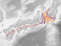 赤線が中央構造線 「Wikipedia」より引用
