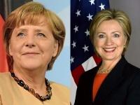 左:メルケル首相(ドイツ)、右:ヒラリー・クリントン氏(アメリカ)