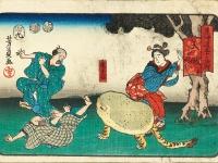 歌川芳員の浮世絵に出てくる珍獣、虎子石がポーチとクッションになって現世に蘇る!