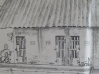 竹澤の刑務所仲間のロシア人が描いてくれたという独居房の様子。(写真提供:竹澤恒男)