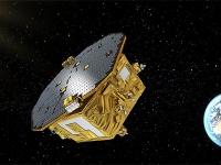 宇宙空間のLISAの想像図(提供=ESA/C. Carreau)