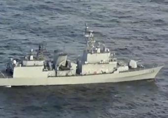 海上自衛隊のP1哨戒機が撮影した、韓国海軍の駆逐艦(写真:海上自衛隊/AP/アフロ)