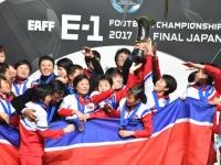 E-1サッカー選手権で優勝した北朝鮮の女子チーム(写真:JFA/アフロ)