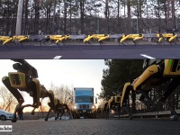 壮観!ボストンダイナミクスの4足ロボットが群れで巨大トラックをけん引中。犬ぞりにも似た・・・