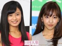 小島瑠璃子(左)、板野友美