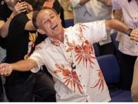 2018年沖縄県知事選挙、玉城デニー氏が当選(写真:小早川渉/アフロ)