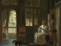 """Pieter de Hooch """"Het aanreiken van een brief in een voorhuis"""" 画像は「Wikimedia Commons」より引用"""