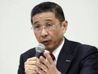 2018年12月17日、取締役会後に記者会見をする、日産自動車の西川廣人社長(写真:AP/アフロ)