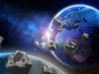 Asteroids near Earth. Meteorites orbiting planet. Elements of this image furnished by NASA